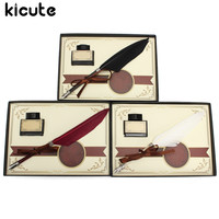 Kicute Retro Swan Feather Quill Metal Nib Dip Pen Writing Ink Set with Gift Box Stationery Antique Fountain Pen Wedding Gift