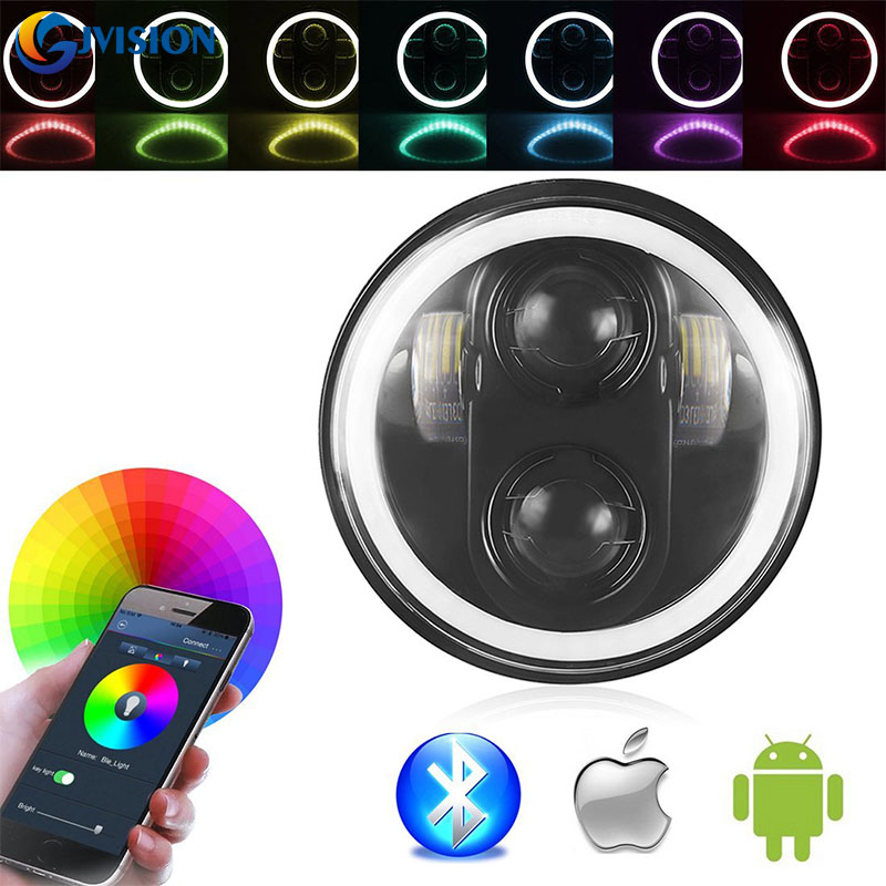 Black/Chrome 5.75 inch RGB Halo Angel eyes led headlight 40W Hi/Lo Beam for Harley Davidson Motorcycles Driving lights