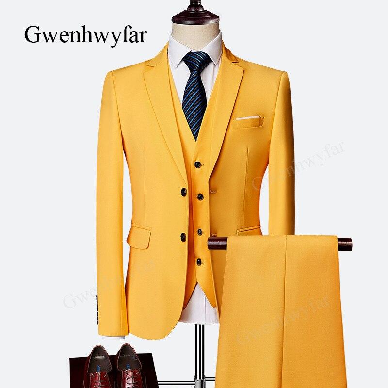 Erkek Kıyafeti'ten T. Elbise'de Gwenhwyfar Erkekler Parti Takım Elbise 2018 Zarif 3 Adet Groomsmen Slim Fit Damat Smokin Erkek Smokin Blazer Setleri Düğün Takım Elbise Sarı'da  Grup 1