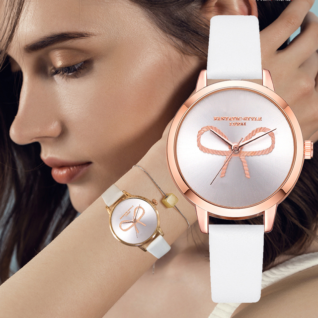 Lvpai Brand 2018 New 3D Bow Rose Gold Girl Wristwatch Ladies Creative Leather Qu