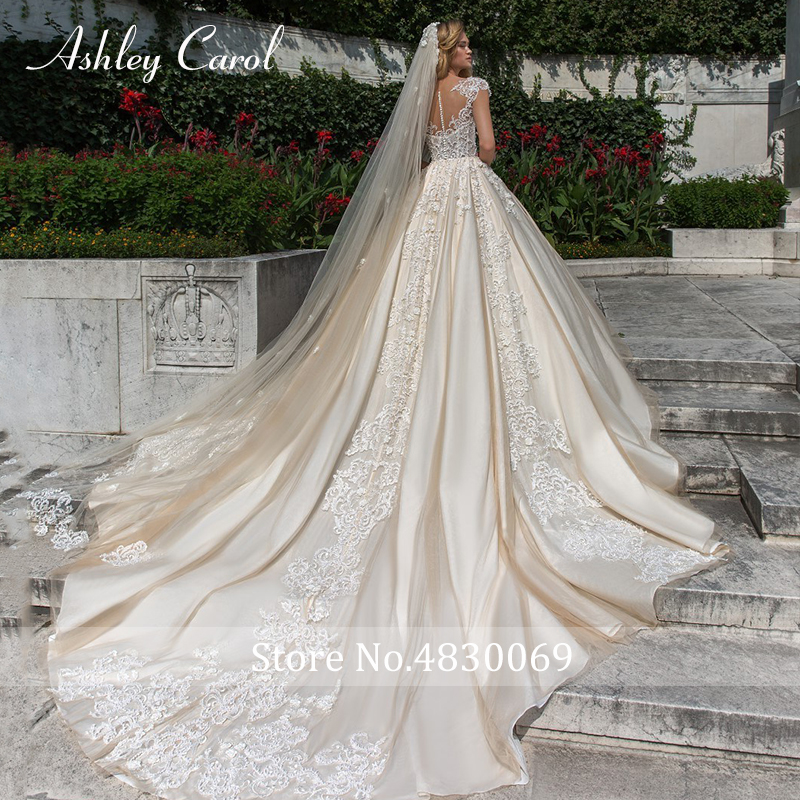 Image 2 - Ashley Carol Short A Line Wedding Dresses 2020 Sweetheart Luxury Beaded Appliques Button Princess Bride Cathedral Bridal GownsWedding Dresses   -