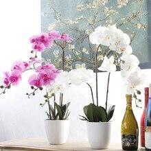 Flor Artificial de Orquídea Phalaenopsis, 7 cabezas, decoración Floral para boda, fiesta de Navidad, decoración para el hogar
