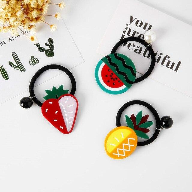 Corea chica Ponytail titular lindo piña fresa acrílico cuerda de pelo goma  Simple vendas elásticos del f4d389987329