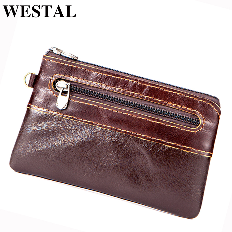 WESTAL Coin Purse Men Genuine Leather Wallets Women Wallet Men Wallet Slim Zipper Short Wallets Male Purse Card Holder Pouch new wallet short men wallets genuine leather male purse card holder wallet fashion zipper wallet coin purse pocket bag free ship