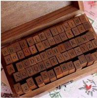 70 Pcs Set DIY Stamp Standard Alphabet Symbol Wooden Box Vintage Decor Scrapbooking Stamp Stationery Office
