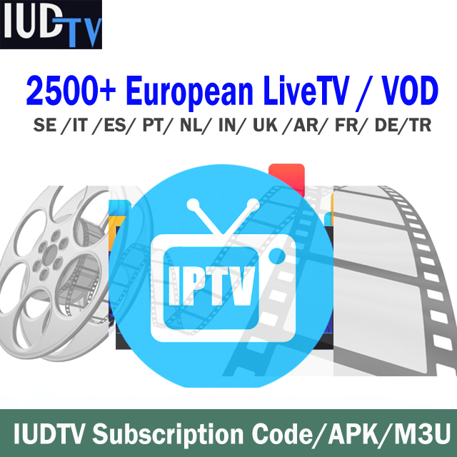 1 Year IUDTV Sweden Subscription Channels Code Swedish Arabic French Spanish M3U APK For Android TV