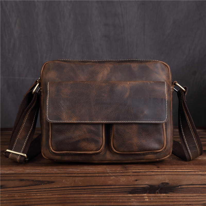 Men's Vintage Retro Genuine Leather Shoulder Handbag Cowhide Business Messenger Briefcase Portfolio Bag For Man Male 8820 20%off pneumatic fittings female male air line hose compressor fitting connector quick release coupler set pneumatic parts