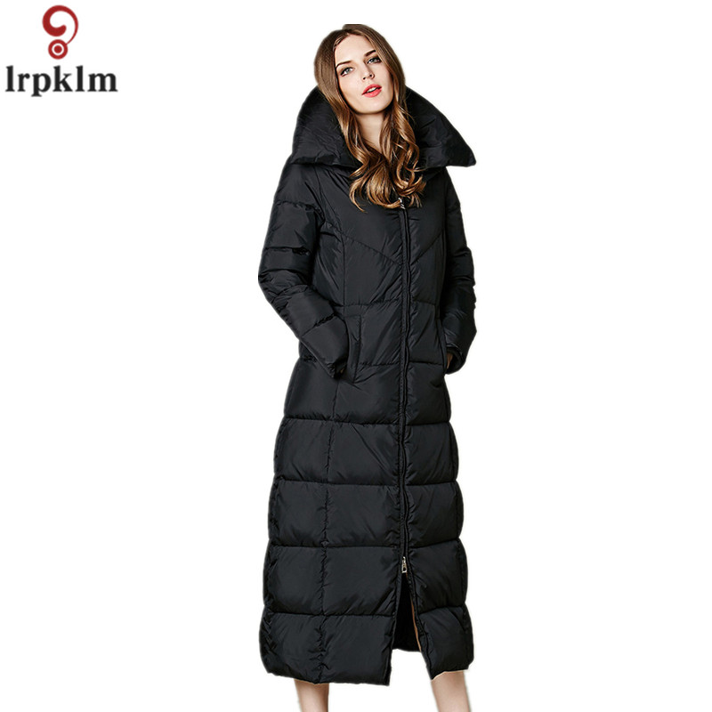 2018 Winter For Female Warm Down Jacket 85% Duck Down Solid Color Long Hooded/Stand Collar Coat Down Jacket Women Outwear CH416