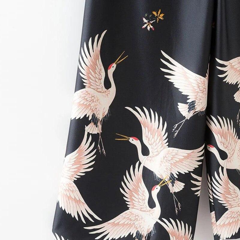Elegante Calle Negro Cintura Mujeres Pantalones Fresco Slim Anchos Verano Telas Alta longitud 2017 Impresas Sección Thin Grúas Tobillo vT8Hq1