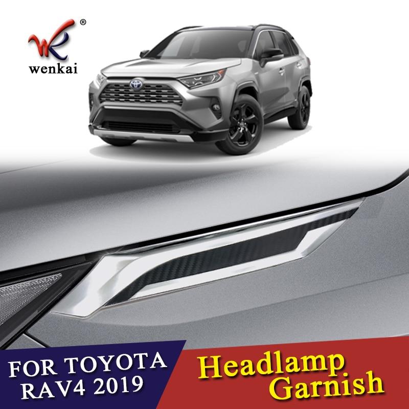 High Quality ABS Chrome Front Head Light Lamp Eyelids Garnish Cover Trim For Toyota RAV4 2019