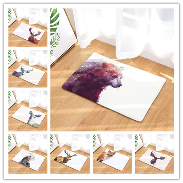welcome floor mat snow animals printing flannel entrance carpetwelcome floor mat snow animals printing flannel entrance carpet 40x60cm 50x80cm kitchen rug bathroom non slip tapete
