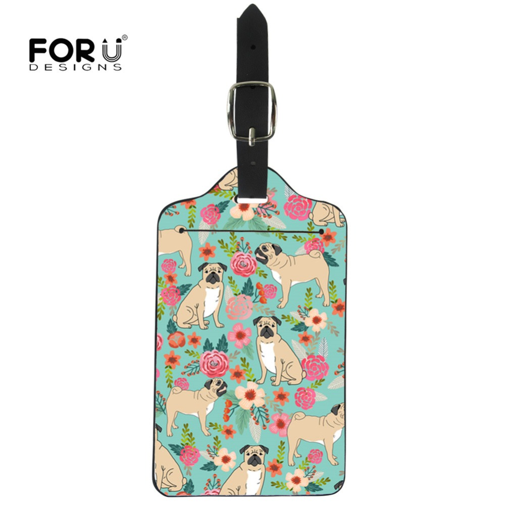 FORUDESIGNS Pug Florals Printed Travel Luggage Tags For Suitcases Animals ID Address Holder Baggage Label Leather Tag Card DIY