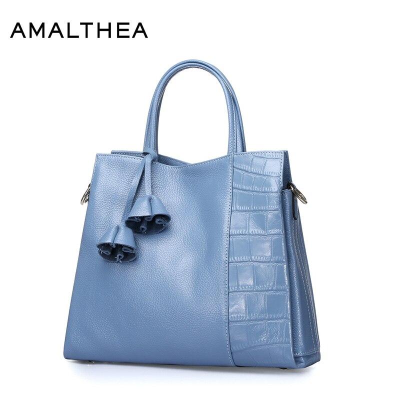 AMALTHEA Brand Genuine Leather Bag Stone Luxury Handbags Women Bags Designer Bag Shoulder Crossbody Bags For Women 2017 AMAG039