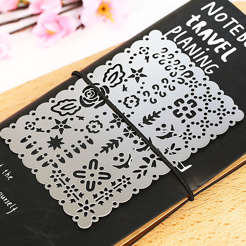 Vintage Portable Stainless Steel Metal Stencils Hollow Rulers Planner Lace Diary Notebook DIY Tool Template Gift Stationery