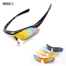 WOSAWE Professional Black Cycling Glasses men Racing Sports Safety Sun Glasses T