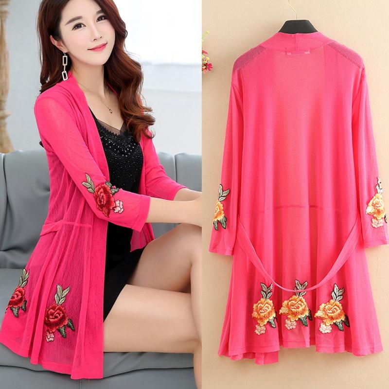 Spring Summer Kimono Cardigan Women Casual Lace Embroidered Tops Plus Size Cardigan Elegant Thin Ladies Blusas Femme XL-5XL Q431
