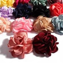50 unids/lote 6CM 14 colores Boutique Vintage fondo plano Artificial suave flores de tela a la parrilla para niños diademas para el cabello Accesorios