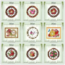 Flower basket clock face fruit rose painting counted printed on canvas DMC Cross Stitch kits 11CT 14CT needlework Set embroidery(China)