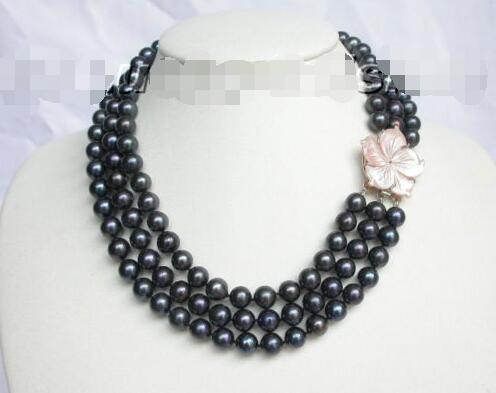 10x10 bijoux livraison gratuite véritable 10mm 3row collier de perles noires rondes coquillage