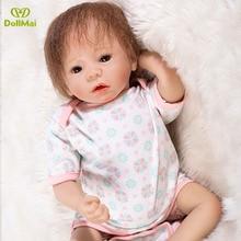 46 cm Silicone Renascer Baby Doll Crianças Playmate Presente para As Meninas Do Bebê Boneca Bebe Reborn vivo Brinquedos Macios para Buquês Brinquedos Adereços Foto