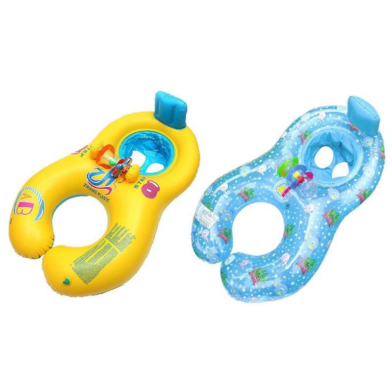 Círculo asiento doble bebé anillo de natación inflables flota piscina bañera juguete baño doble inflable balsa anillos juguete
