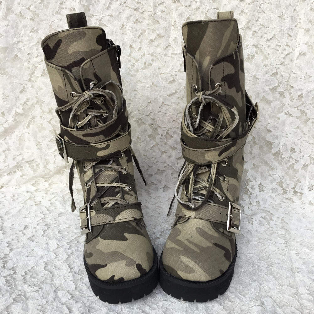 Princess sweet lolita  shoes Custom size shoe lace round British camouflage boots Martin leisure high boots an1223 cylinderPrincess sweet lolita  shoes Custom size shoe lace round British camouflage boots Martin leisure high boots an1223 cylinder