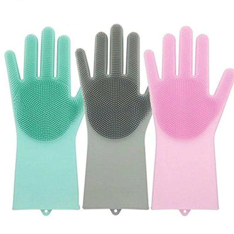 EIN Paar Magie Silikon Wäscher Gummi Reinigung Handschuhe Wärme Beständig Große für küche Dish waschen Reinigung Pet Haar Pflege