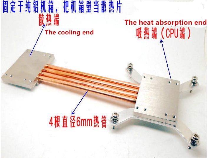 Livraison gratuite 1155 1150 270mm caloduc radiateur bricolage kits coordonner avec tous les châssis en aluminium construire ordinateur muet dissipateur thermique pour processeur Fin