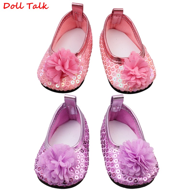 Doll Talk Pink 18 Inch American Flower With Sequin Doll Shoes Fashion Lovely Sequin Flower Mini Girl Toy Shoes For Doll