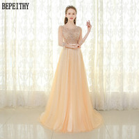 BEPEITHY Vestido De Festa New Arrival Scoop A Line Tulle Champagne Lace Beads Three Quarter Prom