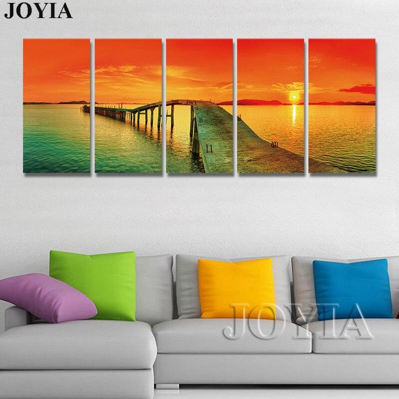 Огромный Размеры 5 шт. настенный Декор Морской пейзаж холст Книги по искусству морской закат Pier завораживающий взгляд картина на стене для Г...
