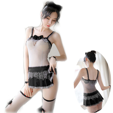 4PCS Transparent SM Babydoll Dress Cute Cat Bow Lingerie Set Sling fishing net Sleepwear Woman Exotic thighhighs Cosplay Costume