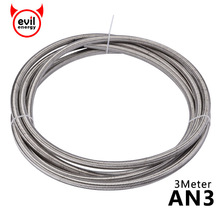 evil energy 3Meter AN3 Stainless Steel Braided PTFE  Hose Fuel Oil Gasoline Brake Line Silver