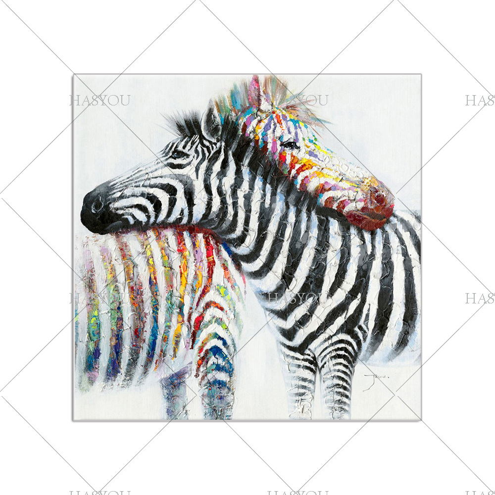 Us 28 0 50 Off Hand Painted Modern Colorful Zebra Oil Painting On Canvas Animal Art Living Room Zebra Wall Pictures Living Room Home Wall Decor In