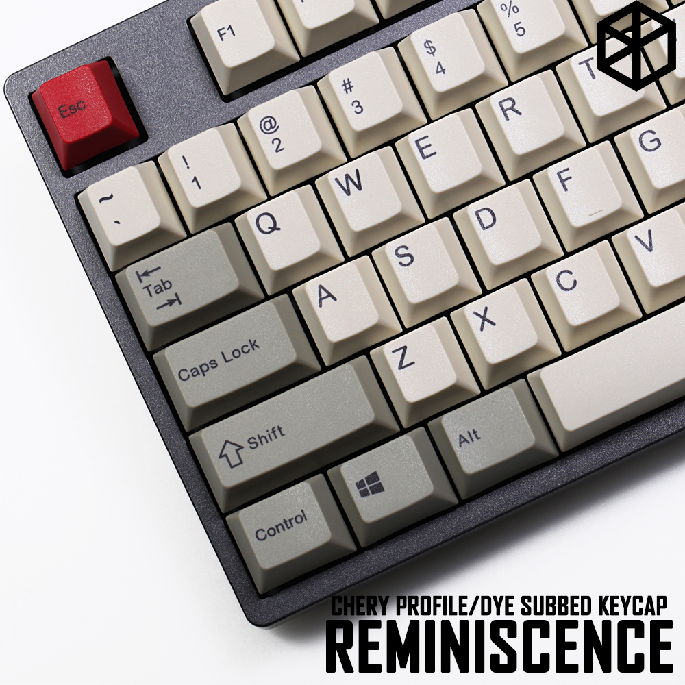pbt dye subbed keycaps cherry profile retro beige grey for ansi 104 mechanical keyboard for cherry