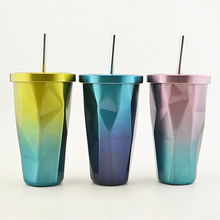 2017 neueste Sommer thermos eis kaffee saft vakuum stroh glas tasse becher edelstahl kreative gradienten Design Trinken Flasche