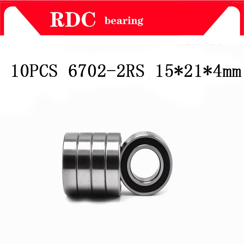 Free Shipping 10PCS ABEC-5 6702-2RS High quality <font><b>6702RS</b></font> 6702 2RS RS 15x21x4 mm Miniature Rubber seal Deep Groove Ball Bearing image