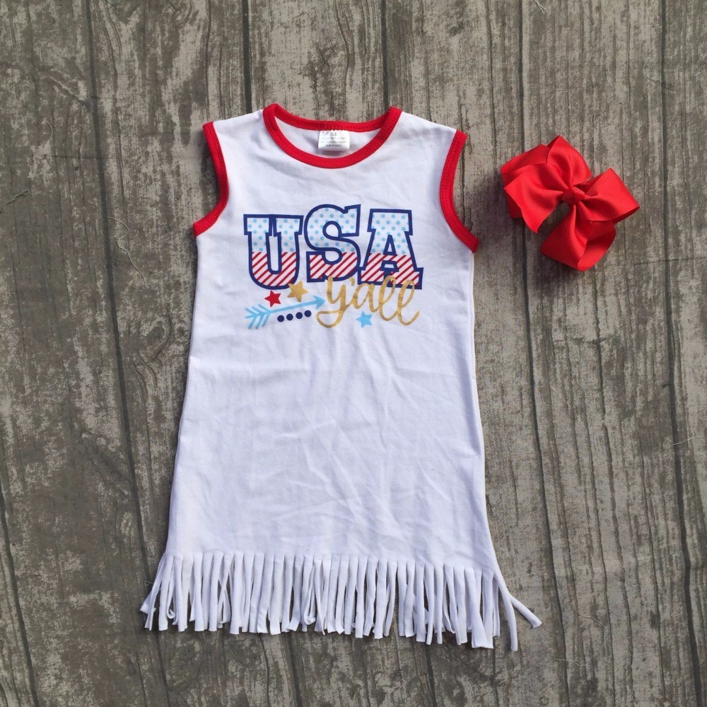 baby girls Summer dress children July 4th dress children kids USA tassel dress baby girls boutique july 4th dress with bows
