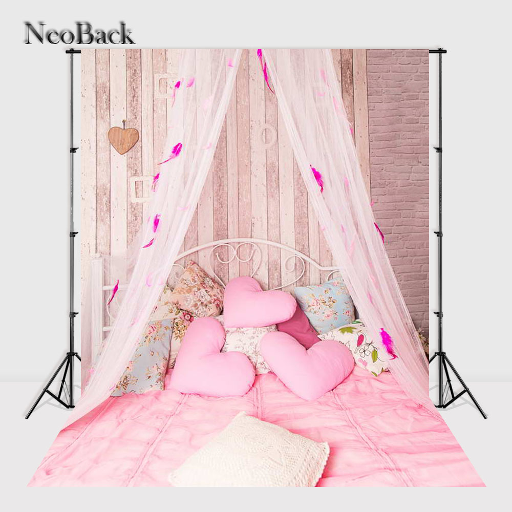 NeoBack 5x7ft Computer Painted children Vinyl Cloth Photographic backdrop New born baby bed canopy scene photo backgrounds P1254