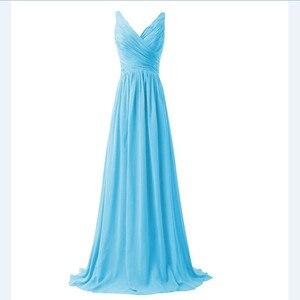 Image 2 - LLY1130Z # col en v bretelles Spaghetti à lacets longues violet bleu robes de demoiselle dhonneur de mariage robe de bal mariée dames mode filles