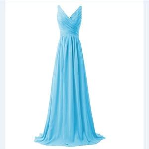 Image 2 - LLY1130Z # vネックスパゲッティストラップレースアップ紫ブルー花嫁介添人ドレスウェディングパーティードレス花嫁ファッションの女の子