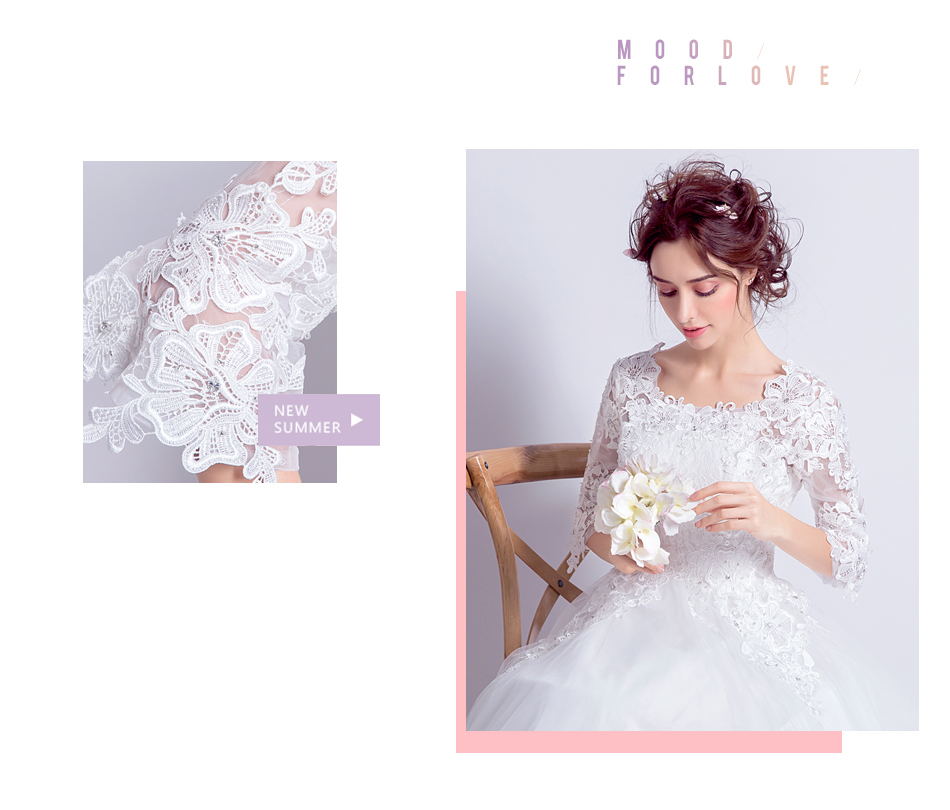 Angel Wedding Dress Marriage Bride Bridal Gown Vestido De Noiva 2017 Boat Neck horn sleeve, big tail 6910 4