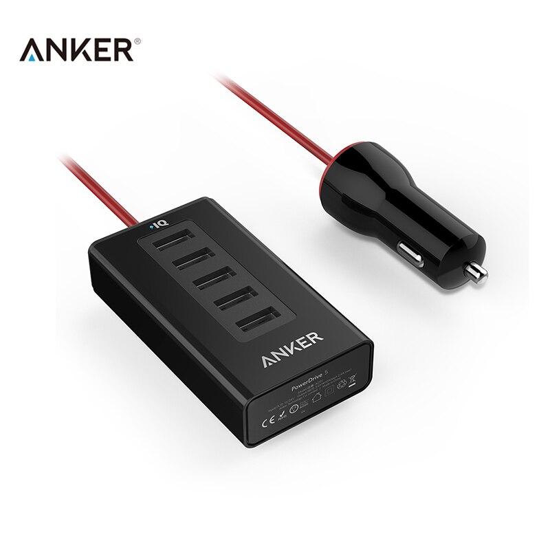 imágenes para Anker powerdrive5 50 w poweriq rápido coche-cargador de 5 puertos usb 2a 5 v/10a cargador usb más ligero universal del cargador multi del usb para el teléfono