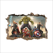 92b168bd1cb 3D Broken Wall Decor The Avengers Wall Stickers for Kids Rooms Home Decor  DIY Marvel Heroes Poster Mural Wallpaper Wall Decals