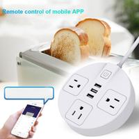 Wifi Smart Outlet Surge Protector WiFi Wireless Remote Power Strip 3 AC Outlets And 3 USB Ports for Travel Home or Office