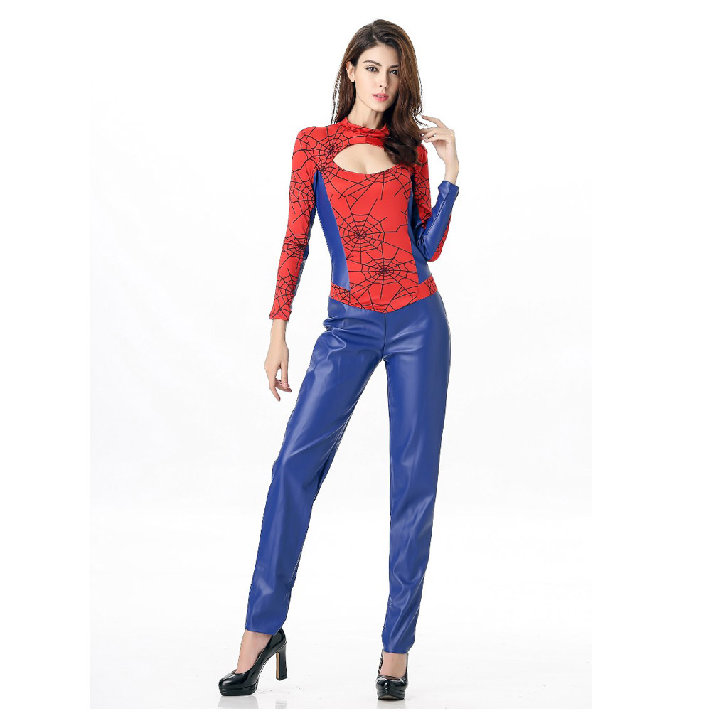 Spider Women Costume Blue With Red Zentai Suit Sexy Costumes Women Halloween 2016 Girl -4918
