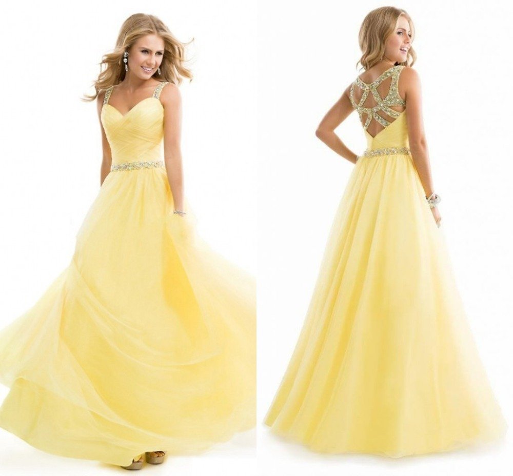 Popular Yellow Prom Dress Sheer Straps-Buy Cheap Yellow Prom Dress ...