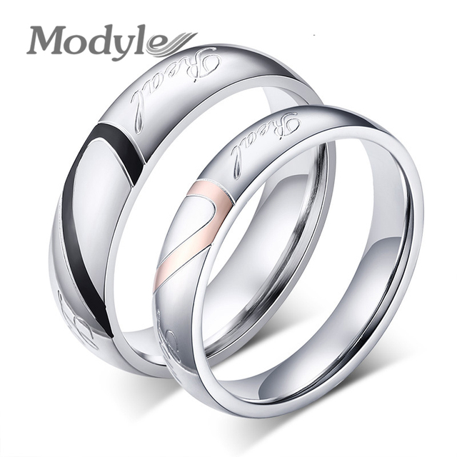 Modyle New Fashion Heart Ring Lovers Wedding Rings Stainless Steel Wedding Rings for Men and Women