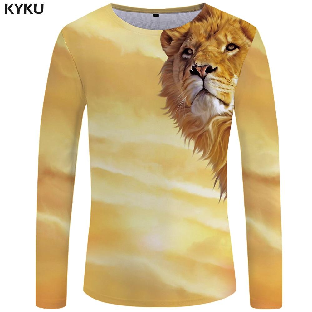 KYKU Lion Long   T  -  shirt   Men Yellow Animal   T     Shirt   Space 3d Print   T     Shirt   Hip Hop Long Sleeve   Shirt   Punk Rock Mens Clothing New