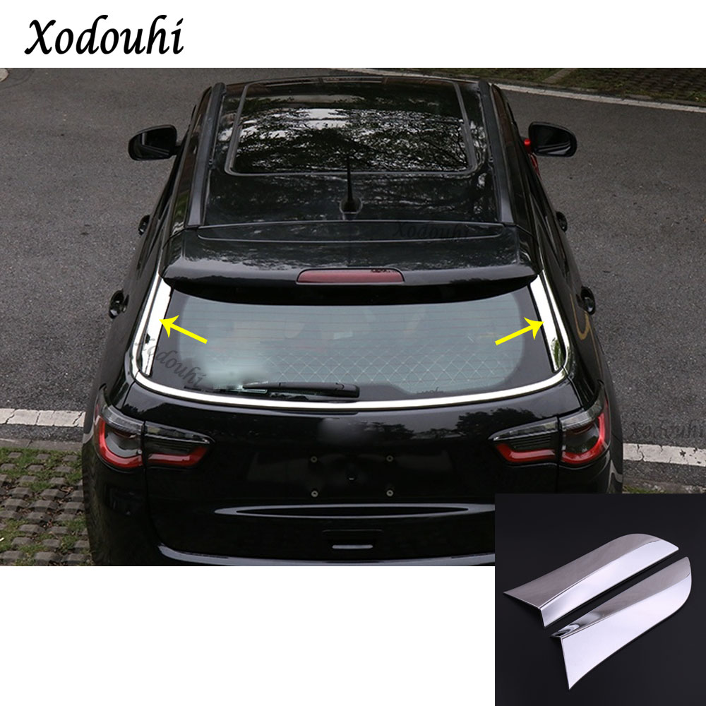For Jeep Compass 2017 2018 2019 car styling ABS stick trim Rear window sequin glass Spoiler side triangle Molding frame 2pcs